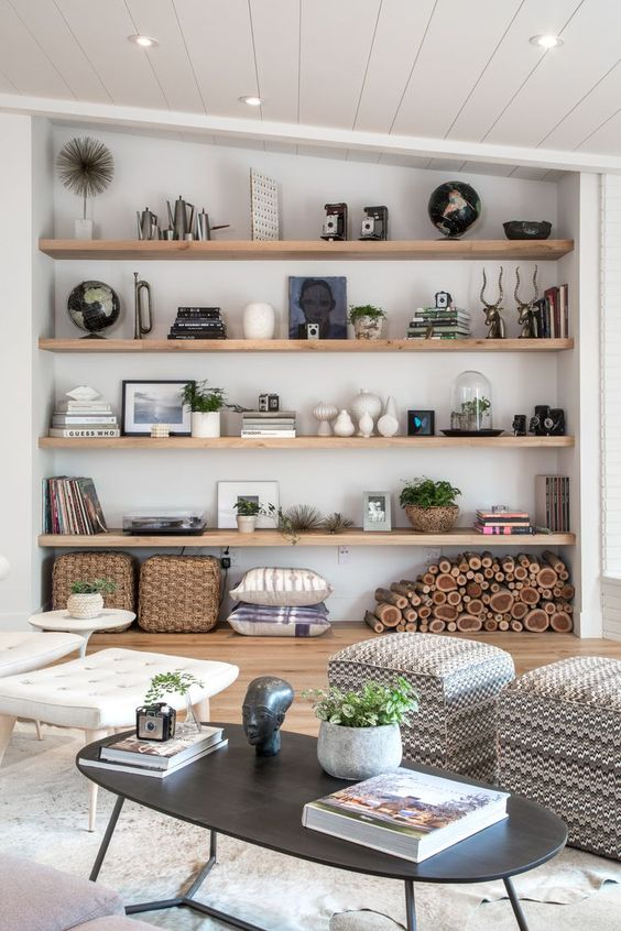 Pomys y na p ki w salonie i sypialni - Shelves design for living room ...