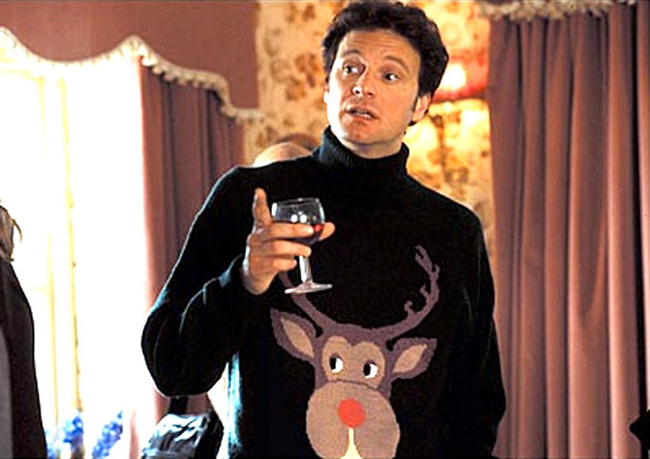 Dziennik Bridget Jones, ugly christmas sweater, renifer, Mark Darcy
