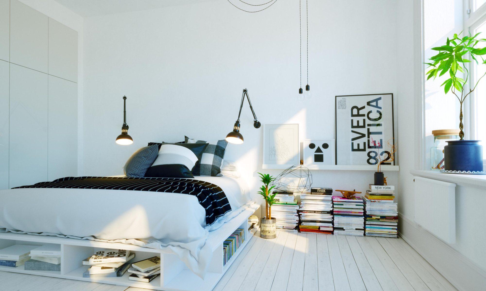 lampy stojące łóżko sypialnia