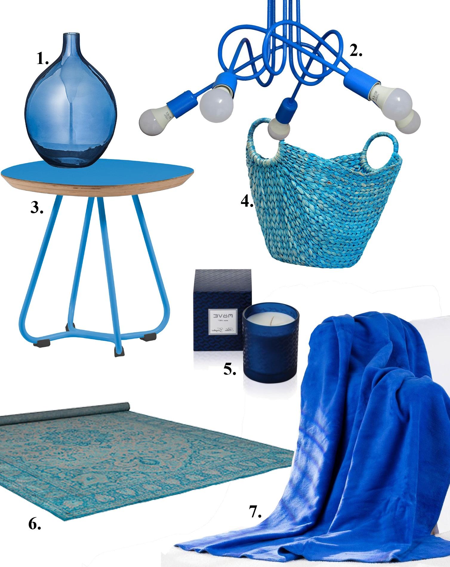 Niebieskie dodatki do salonu