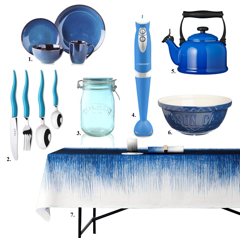 Niebieskie dodatki do kuchni
