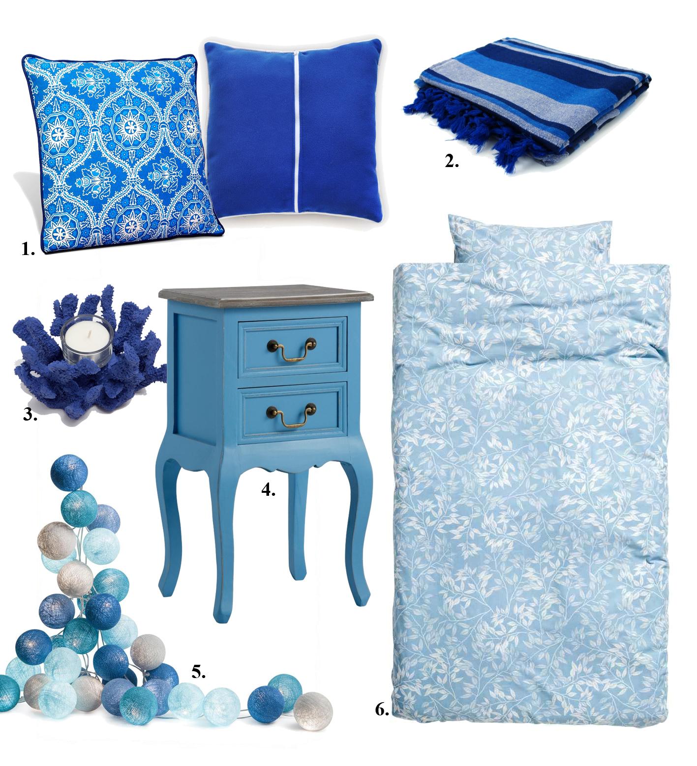 Niebieskie dodatki do sypialni
